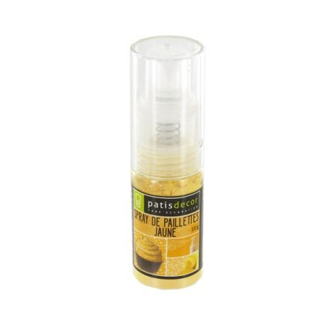 Spray de paillettes jaune Patisdécor 10 g