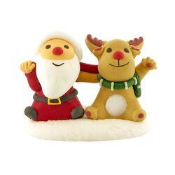 Décors comestibles Père Noël et renne assis (x20)