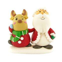Décors comestibles Père Noël et renne debout (x20)