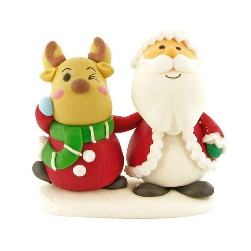 Décor sucre Père Noël et renne debout