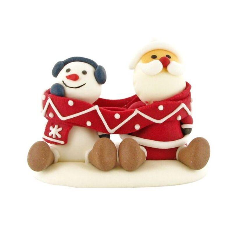 Décors comestibles Père Noël et bonhomme de neige écharpe (x20)