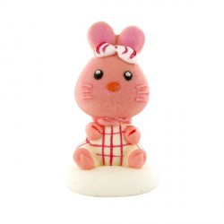 Décor Lapin Rose Assis 5,5 cm