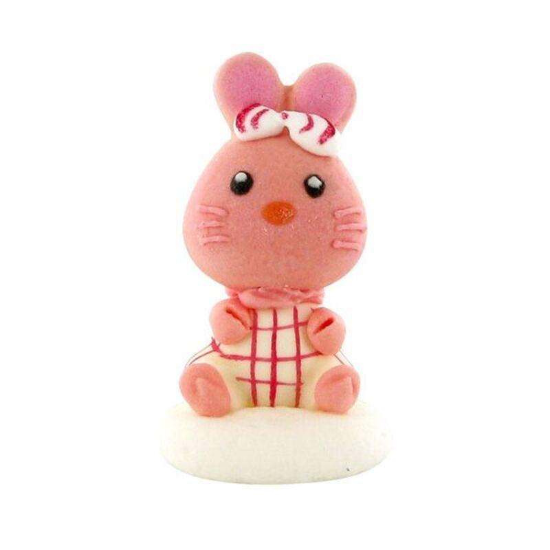Décors comestibles lapins roses assis (x24)