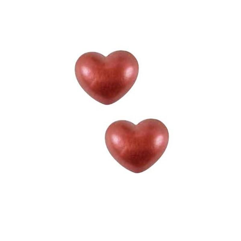 Coeurs en chocolat 3D rouges scintillants (x32)