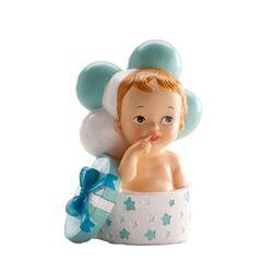 Sujet de baptême bébé garçon dans boîte à cadeau