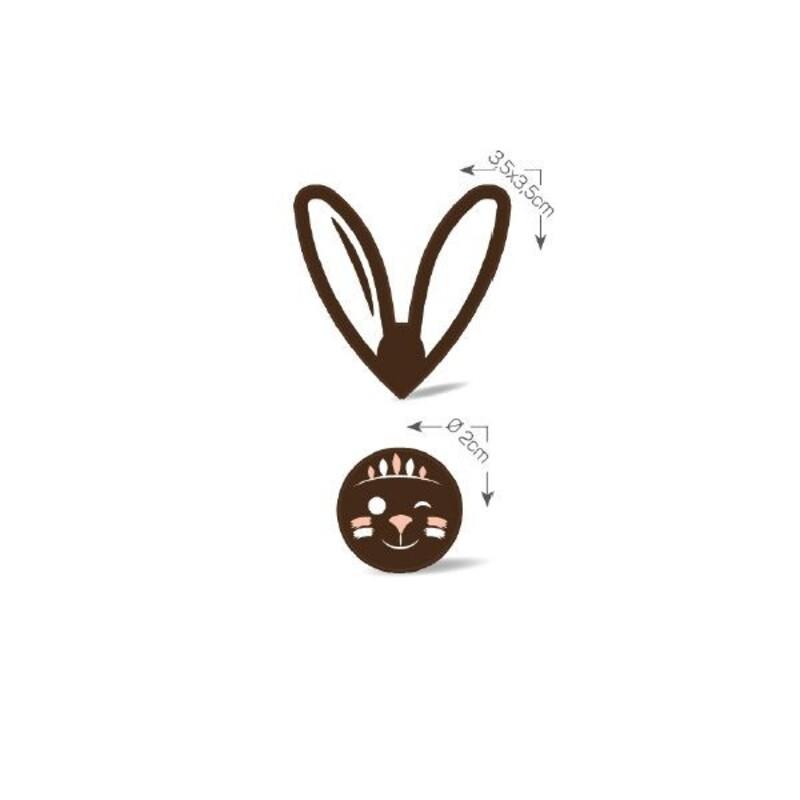 Ronds lapin chocolat noir assortis (x50)