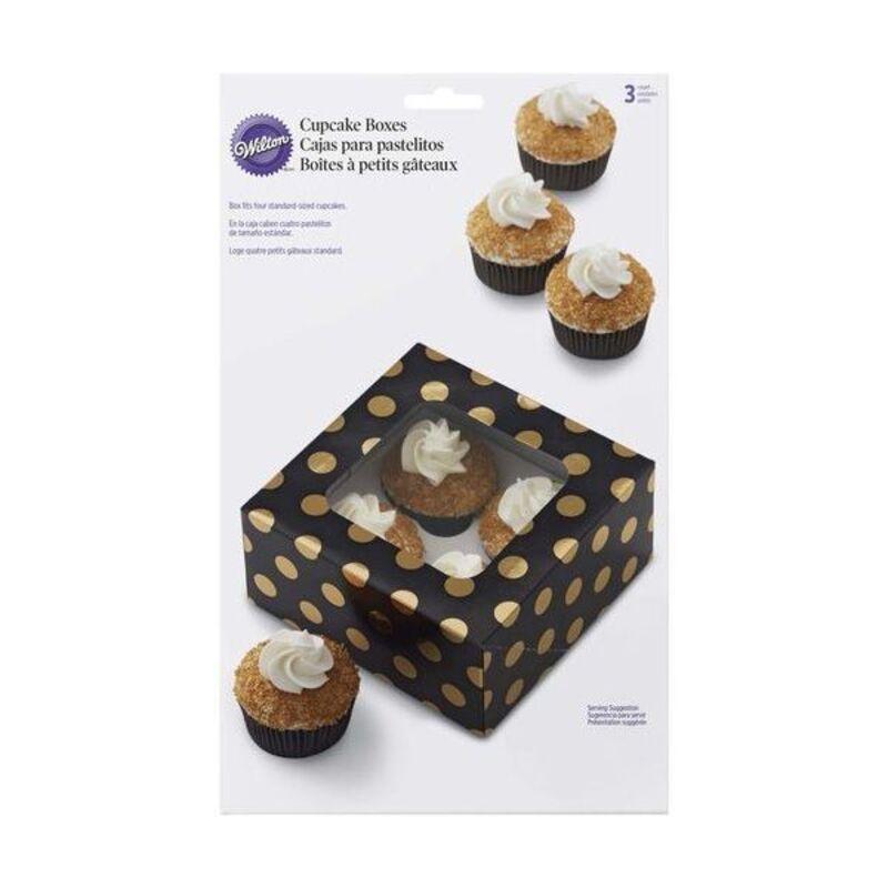 Boîte 4 cupcakes noire à pois dorés Wilton (x3)