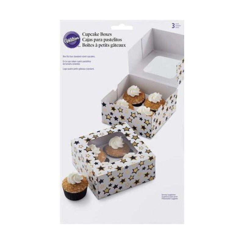 Boîte 4 cupcakes étoiles Wilton (x3)