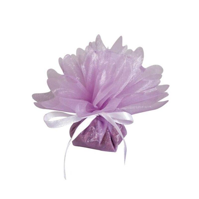 50 ballotins organza cristal lilas 24 cm