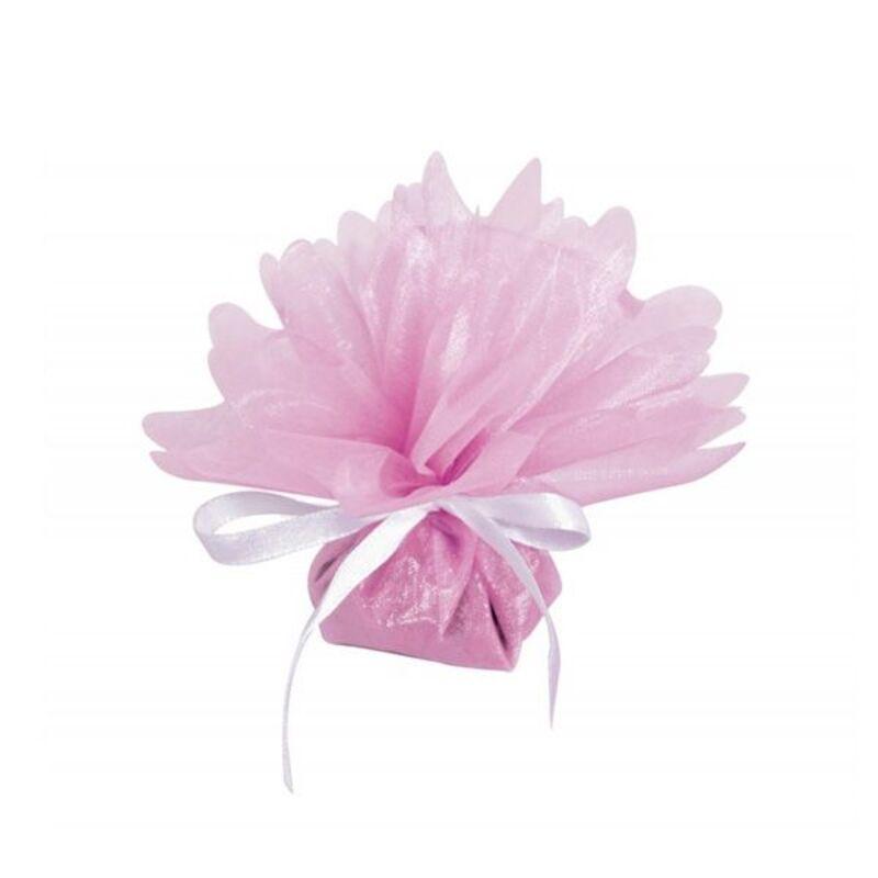 50 ballotins organza cristal rose 24 cm