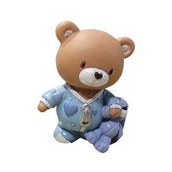 Sujet de baptême ourson bleu avec doudou