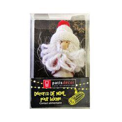 Père Noël bonnet blanc Patisdécor