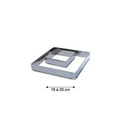 Cadre inox extensible carré 16 à 30 cm