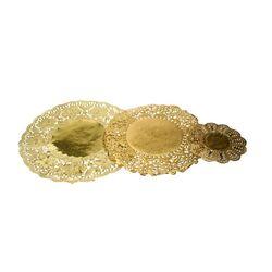Dentelle ronde pâtisserie papier doré (x100)