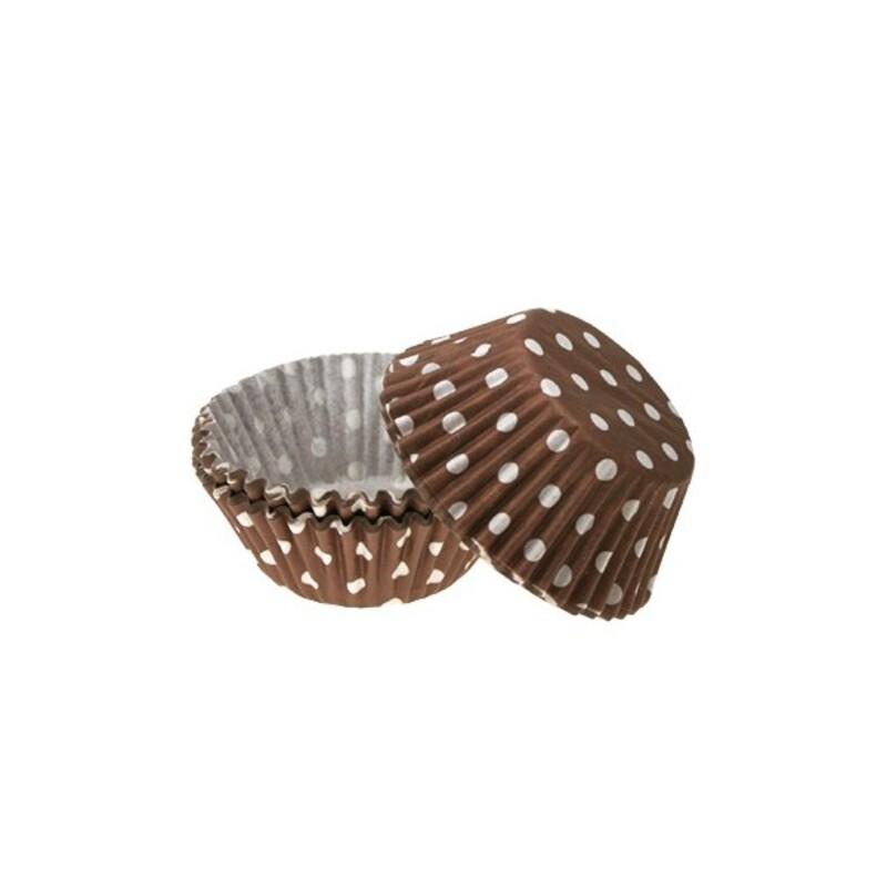 Caissette cupcakes chocolat à pois (x60)