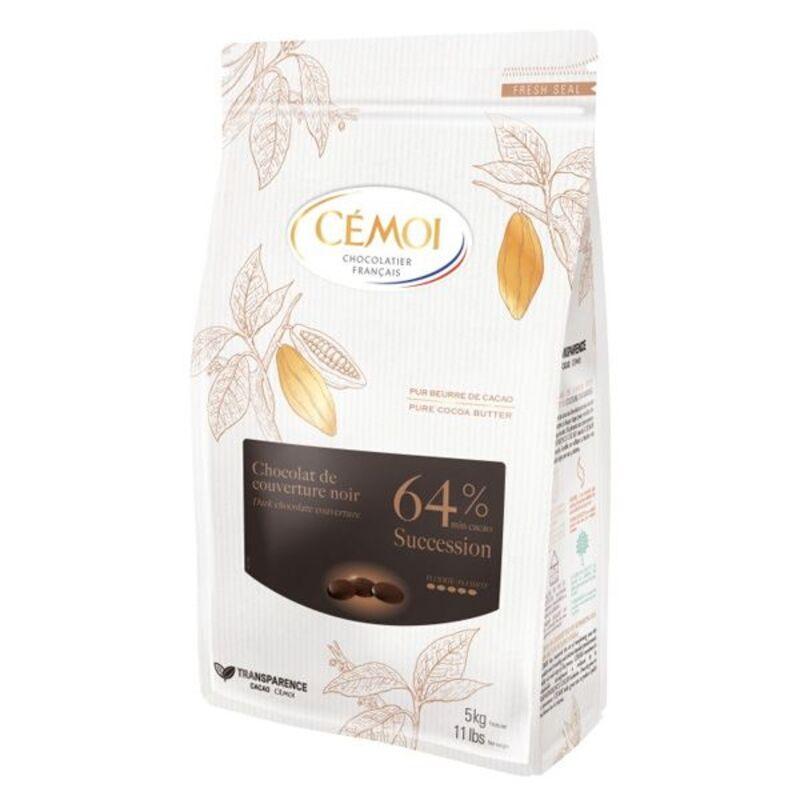 Chocolat de couverture noir Succession 64% Cémoi 1 kg