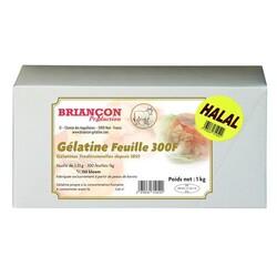 Gélatine Halal bovine en feuilles 150 bloom Briançon 1 Kg