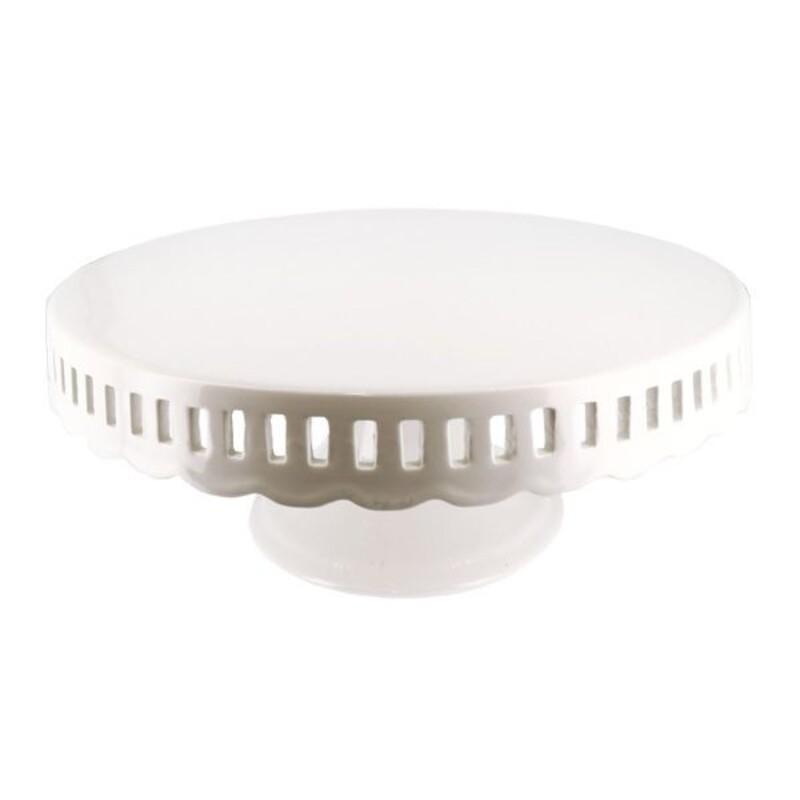 Présentoir gâteau en céramique dentelle