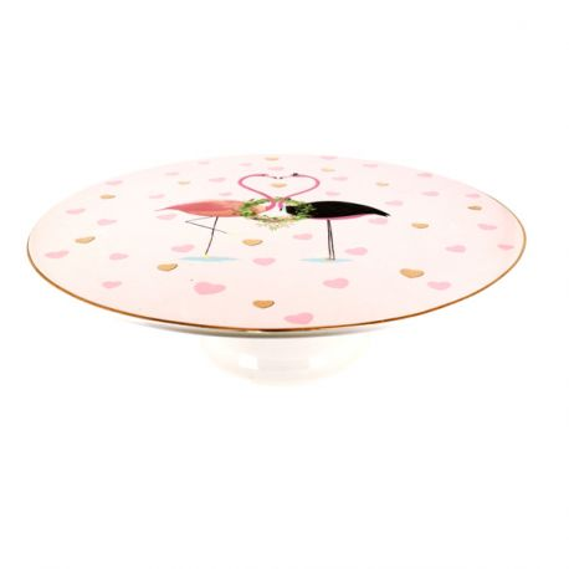 Présentoir gâteau en céramique flamants roses