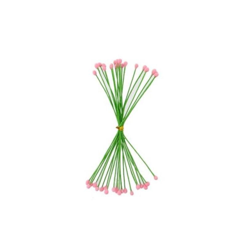 Pistils pour fleurs pâte à sucre roses (x20)