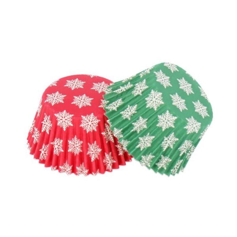 Caissette cupcake verte / rouge Flocons (x 16)