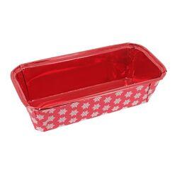 Moule à cake jetable rouge flocons de neige (x4)