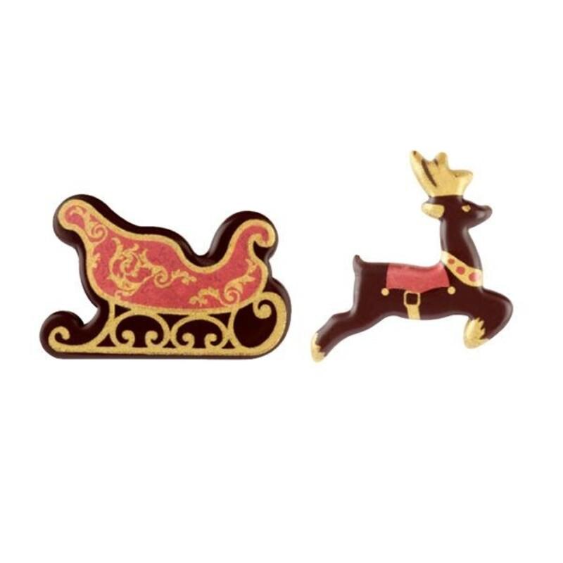 Décor chocolat Rennes et Traineaux assortis (x106)
