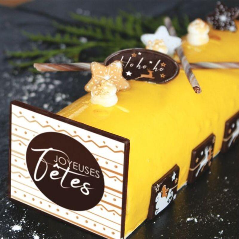 """Kit de Décors en chocolat pour bûche """"Joyeuses Fêtes"""""""