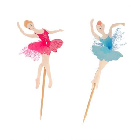 Cupcake Toppers Ballerines assorties (x12)