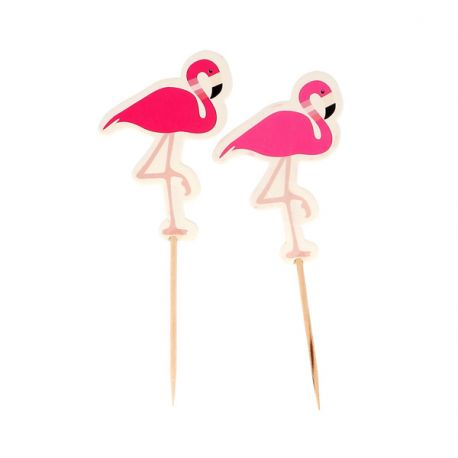 Cupcake Toppers Flamants roses (x12)