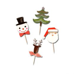 Cupcake Toppers Merry Christmas assortis (x8)
