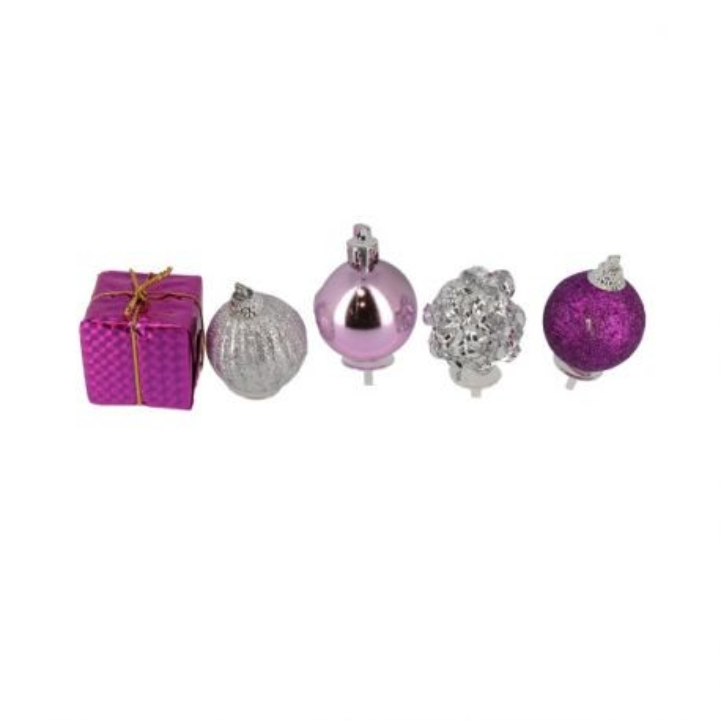 Décors de Noël sur pique assorties roses Patisdécor (x5)