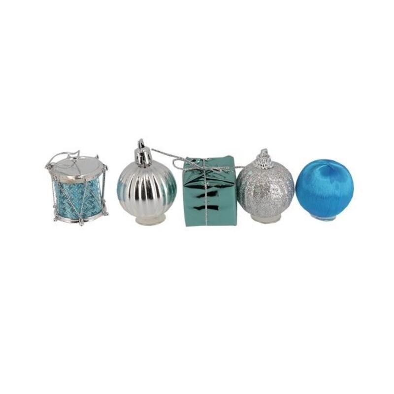 Décors de Noël sur pique assorties bleus Patisdécor (x5)