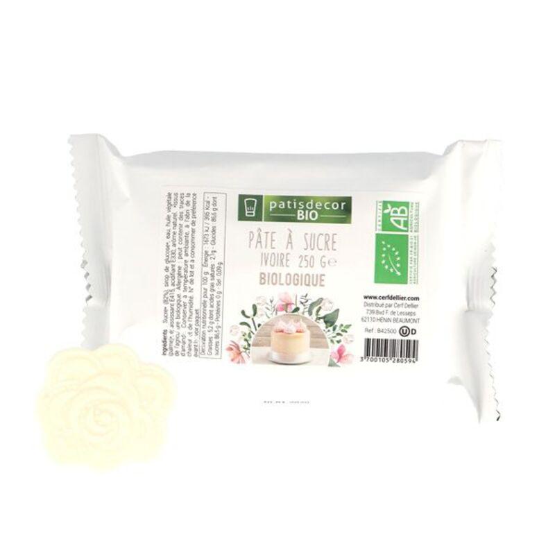 Pâte à sucre ivoire BIO 250 g Patisdécor Bio