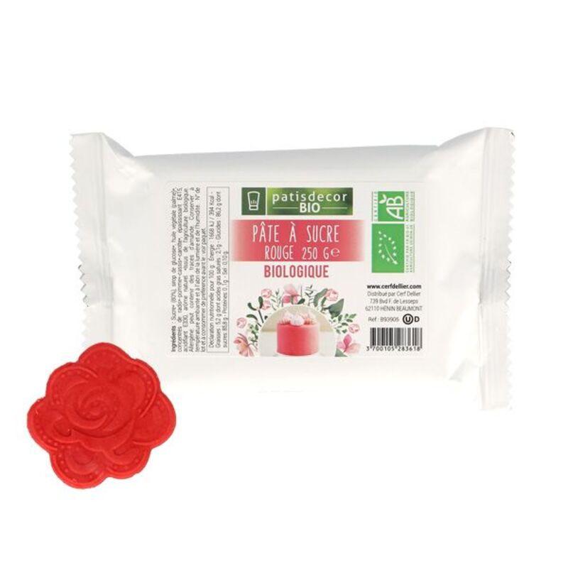 Pâte à sucre rouge BIO 250 g Patisdécor Bio