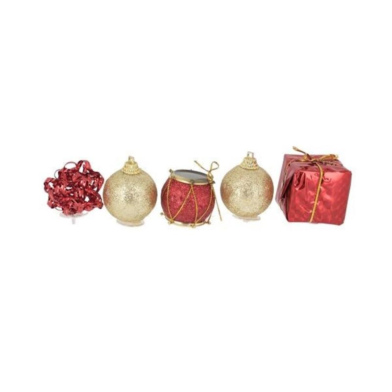 Décors de Noël sur pique assortis rouges Patisdécor (x5)