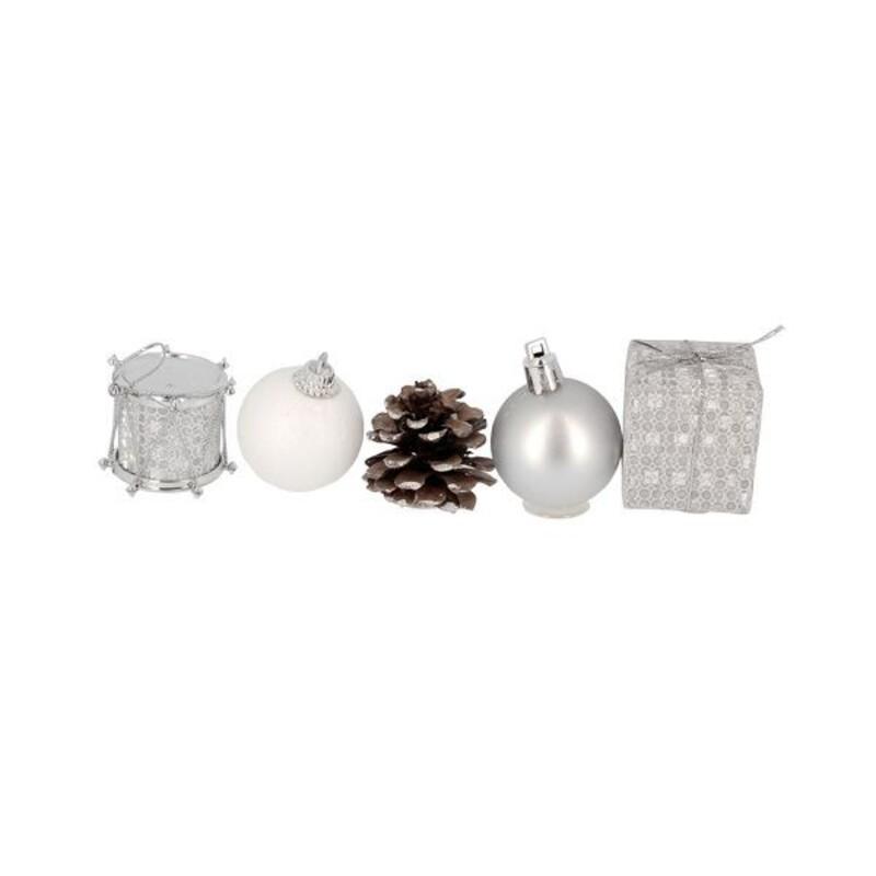 Décors de Noël sur pique assortis argent Patisdécor (x5)