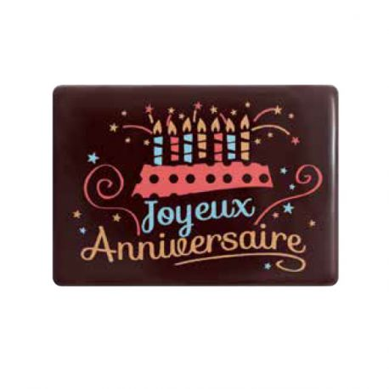Rectangles chocolat Joyeux Anniversaire (x48)