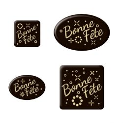 Décors en chocolats assortis Bonne Fête (x116)