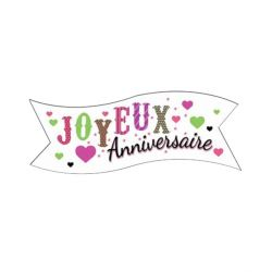 Banderoles Joyeux Anniversaire Coeurs (x24)