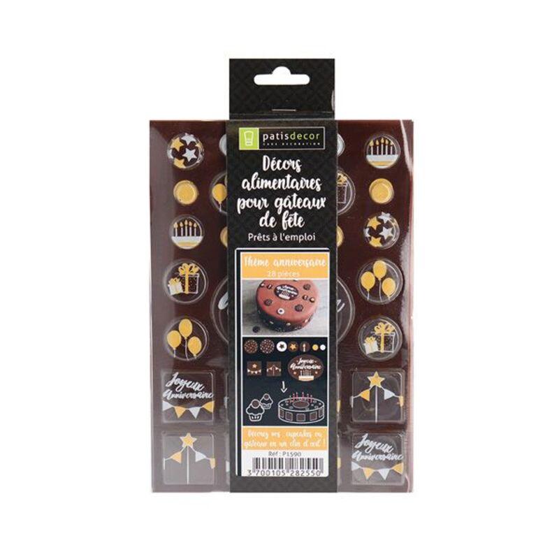 """Disque décor chocolat """"Anniversaire"""" (x28)"""
