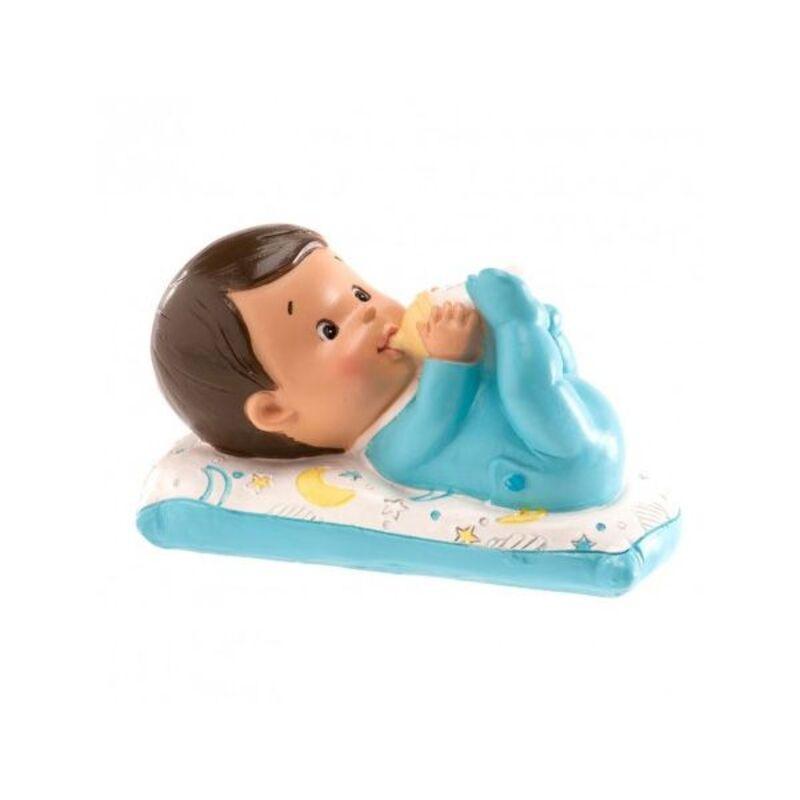 Sujet de baptême bébé garçon allongé avec biberon