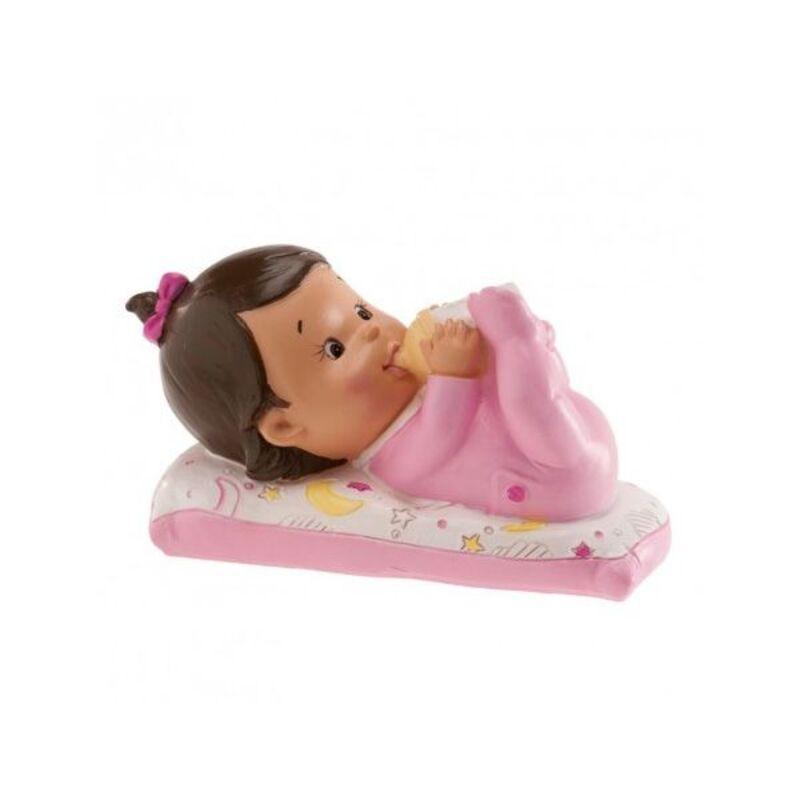 Sujet de baptême bébé fille allongé avec biberon