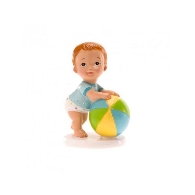 Sujet de baptême bébé garçon avec ballon