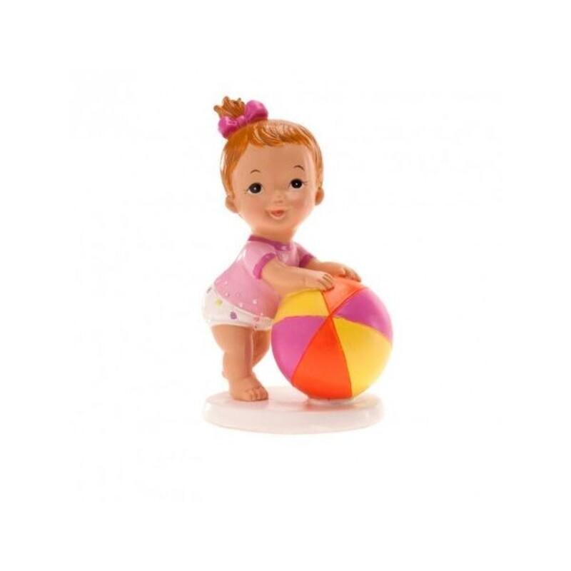 Sujet de baptême bébé fille avec ballon
