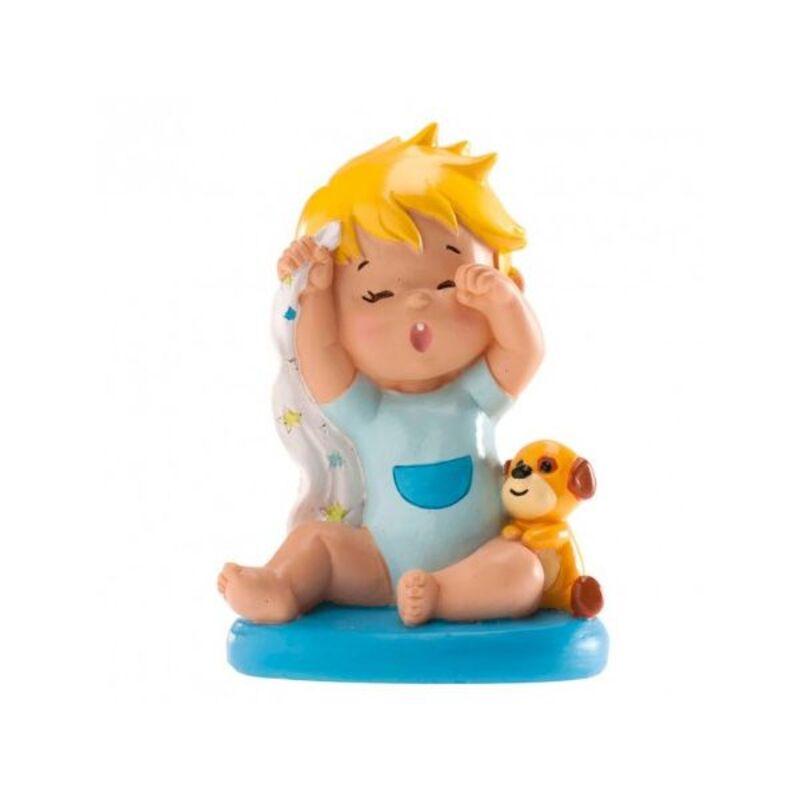 Sujet de baptême bébé garçon au réveil