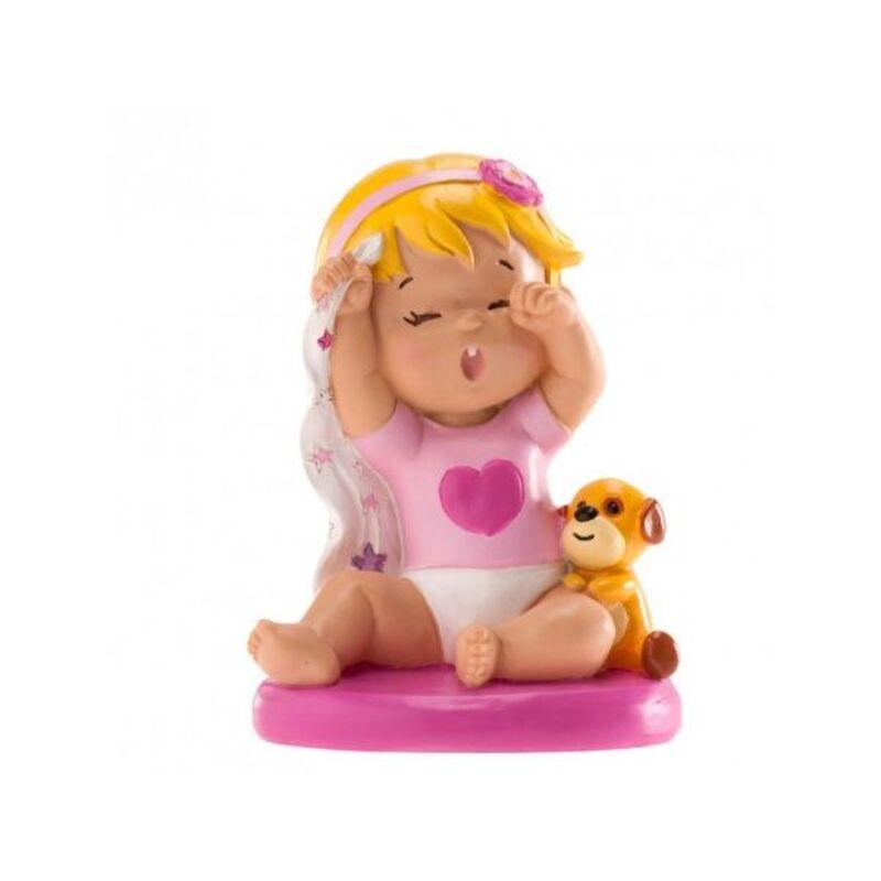 Sujet de baptême bébé fille au réveil