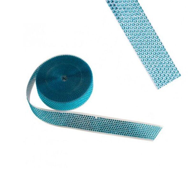 Ruban strass bleu 3,5 cm (10 m)