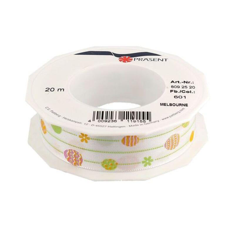 Ruban blanc Pâques 25 mm (20 m)