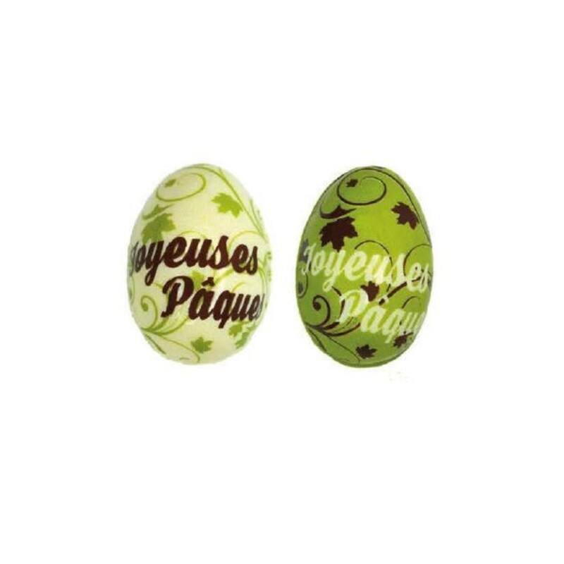 Oeuf en chocolat 3D Joyeuses Pâques verts (x24)